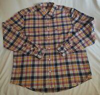 Men's Lacoste Live Plaid Cotton Shirt Size 45 = XL-2XL F6145 Multicolor w/ Logo
