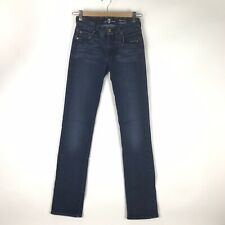 7 For All Mankind Womens 25 Kimmie Straight Leg Jeans Dark Blue Wash Mid Rise