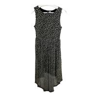 H&M Divided Womens Sleeveless Sheath Dress High Low Mesh Stretch Leopard Size 6