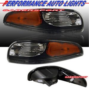 Set of Pair Black Housing Bumper Signal Lights for 1997-2004 Corvette C5