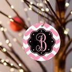 "Christmas Ornament Chevron Personalized Monogram 3""oneside Design 1 Flat Ceramic"