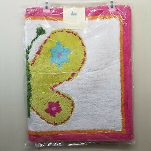 Pottery Barn Butterfly Bath Mat Accent Rug Pink Girls Room Home Decor