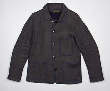 BROWN'S BEACH Tailored Jacket 36 in Navy Blue Wool-Cotton Repro #224 JAPAN