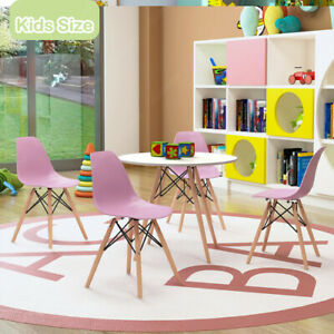 Kids Round Table + 4 Chairs Sets Wood Legs Toddler Dining Sets Nursery Chairs UK