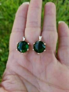 14k Rose Gold Over 2.00 Ct Round Cut Green Emerald Diamond Leverback Earrings