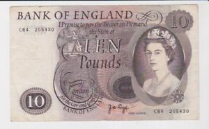 BANK OF ENGLAND £10 TEN  POUND BANKNOTE FAIR CONDITION J B PAGE C84 205430