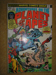 ADVENTURES ON THE PLANET OF THE APES # 2 25c 1975 BRONZE AGE MARVEL COMIC BOOK