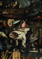Hieronymus Bosch - The Hell - A4 size 21x29.7cm QUALITY Canvas Print Unframed