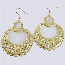 "Gold Earrings Round Filigree Dangle 2.75"" Long Lightweight Metal Alloy"