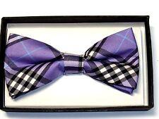 NEW Purple Scottish Tartan Plaid Tuxedo Bow Tie Retro Unisex Hip  Punk