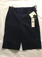 Jones New York Signature Bermuda Shorts Size 4 Navy Blue Cotton Stretch NWT