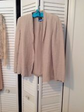 EILEEN FISHER Beige Textured Silk , Linen  Jacket, Size Small
