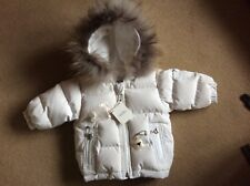BABY DIOR GIRLS FUR HOOD FLEECE LINED WHITE JACKET  ... 6 MONTHS.