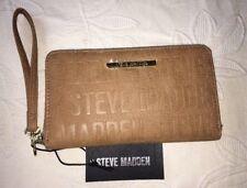 Steve Madden Wallet Camel Stamped Logo Gold Zipper Organizer Wristlet Ships Free
