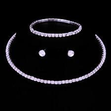 Bridesmaid Wedding Jewelry Set Crystal Necklace, Earrings & Bracelet Bridal