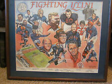 UNIVERSITY OF ILLINOIS FRAMED PICTURE FOOTBALL GREATS BY TIMOTHY ADAMS SEPT 1987