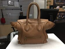 Celine Pebbled Brown Tan Mini Luggage Tote Bag Purse