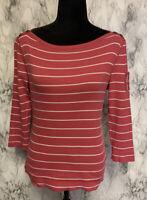 Lauren Ralph Lauren Size M Pink Striped Boat Neck Pocket Accent Knit Blouse