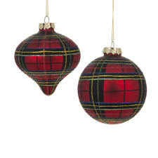 Set of 2 RED PLAID Glass Ball & Onion Drop Christmas Ornaments, by Ganz