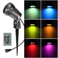 6W RGB LED Outdoor Landscape Light Garden Path Remote Spotlights Waterproof Lamp
