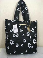 Betsey Johnson Nylon Neon Paw Print Tote Handbag Blk White Super Soft Strap New