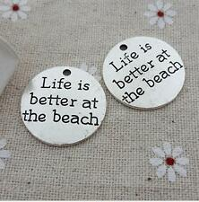 Life Is Better At the Beach Charm Antique Tibetan Silver Engraved DIY Pendant