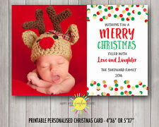Personalised Christmas Photo Cards Digital or Printed Gold, Red, Green Confetti