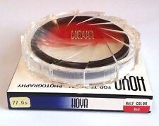 Genuine Hoya 77mm Half Color Red Half Clear Glass Lens Filter 77 mm Japan Rare