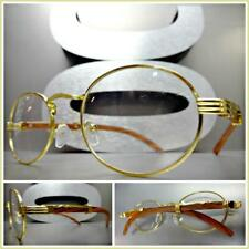 Men CLASSY MODERN Clear Lens EYE GLASSES Unique Oval Gold Faux Wood Wooden Frame