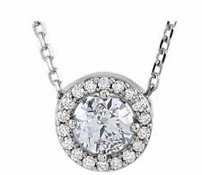 Forever ONE Pendant Diamond Halo Pendant 14K White Gold Moissanite necklace