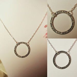 infinity CIRCLE pendant necklace silver plated chain HOPE TRUST LOVE DREAM disc