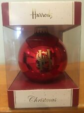 Harrods Christmas Ornament Red Gold Glass Bauble Insignia Emblem Display Box