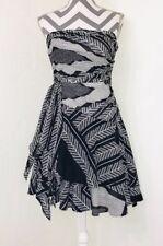 Calvin Klein Black White Geometric Asymmetric Strapless Fit Flare Dress Size 6