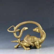 Decoration Chinese Brass Handwork Carved Tortoise & Snake Statue