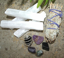 Protection Set - Crystal Tumblestones, Smudge Stick, Selenite Crystal Wands