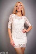 ROBE BLANCHE SOIRéE LINGERIE SEXY GOWN DRESS 36 38 CLUB CLUBWEAR DISCO GOGO