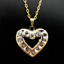 New Gold Hollow Crystal Heart Necklace