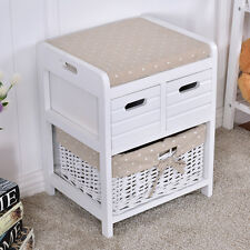 Wooden Storage Unit Bench Wicker Rattan Drawers Baskets Cushion Seat New