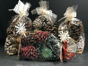 Scented Pine Cones Rooms In Bloom Red White Green New Christmas Decor 4 PC Set