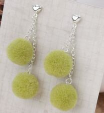 LIGHT GREEN FLUFFY DOUBLE  POM POM  EARRINGS in GIFT BAG - SAME DAY FREE POSTAGE