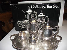 VTG 5pc Silver Plate COFFEE &TEA Service SET &TRAY Pot Leonard TOWLE w/BOX Sugar