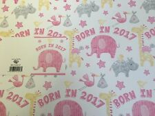 2 Sheets Born in 2017 Gift Wrap 1 Tag Pink Girl Wrapping Paper Animals Baby