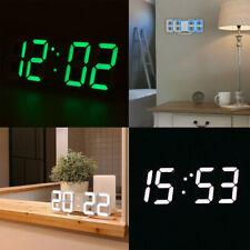 3D Led Digital Alarm Clock Usb Home Hanging Wall Decor Clock 12/24 Hour Display