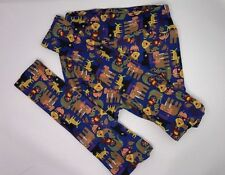 Lularoe OS Leggings Artistically designed animals and birds; blue bkgnd LL 120
