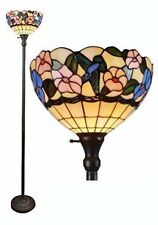 Torchiere Floor Lamp Tiffany Style Multi Floral Stained Glass Shade Metal Base