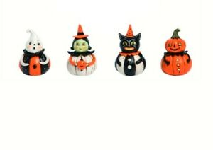 Set/4 Johanna Parker Pumpkin Peeps Ghost Witch Cat Retro Vntg Halloween Figurine
