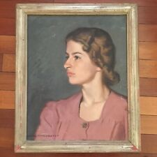 Beautiful Vintage Oil Painting Portrait of Lady Listed Artist Claude Montgomery