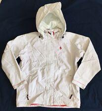 Girls White Ferrari Brand Windbreaker Jacket With Removable Hood Sz 9-10 NWOT