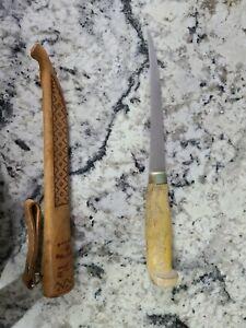 "J Martiini Finland Finnish Fish Filet Knife 6"" Signed Blade & Sheath - Vintage"