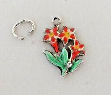 Vintage German Enamel Silver RED GENTIAN Flower Charm